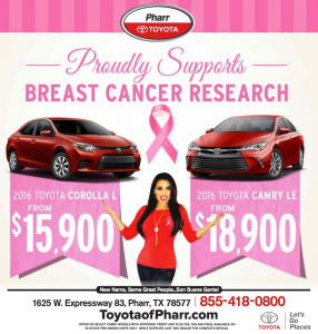 Toyota of Phrarr offers vehicle discounts in support of breast cancer.